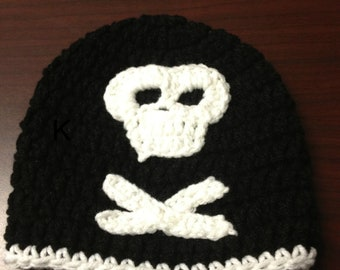 Newborn Skull Hat, The SKULL and CROSS BONES  Baby Hat/Crochet Skull Hat, Baby Boy Hat, Toddler Hat (Ready to Ship)