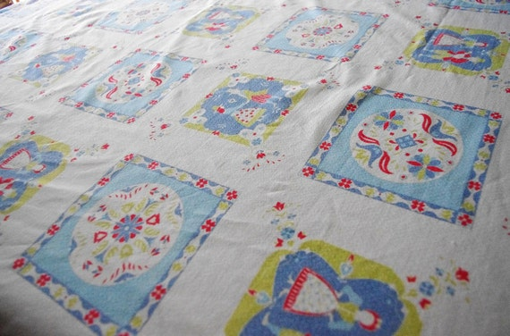 Large Size Dutch Patterned 1950's Tablecloth
