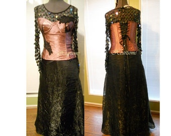 Masquerade gown OOAK Steampunk Victorian Gothic Formal prom skirt sequin top corset dress OOAK