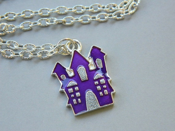 Halloween Castle Necklace, Purple Castle Necklace, Castle Charm, Purple, Castle, Silver, Scary, Lilac, Grape Charm, Halloween Jewelry