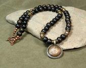 Mens Necklace, Mala Jewelry, Mens Jewelry, Tribal Jewelry, Copper Pendant Necklace, Beaded Necklace