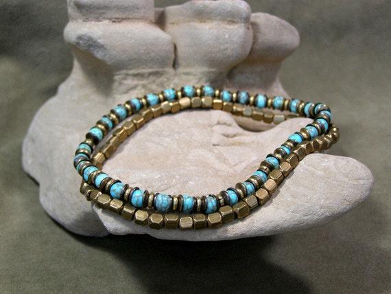 Mens Bracelet - Stretch Bracelet - Turquoise Bracelet - Brass Bracelet - Mens Jewelry - Beaded Bracelet