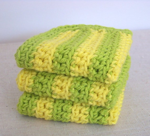 Cotton Dish Cloths, Crochet.  Lemon Yellow and Lime Green Stripes.