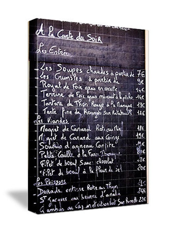 Classic French menu on a chalkboard - 16x20 Gallery Wrap Canvas - Kitchen Decor