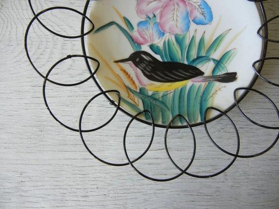 Vintage Handpainted Bird Plate in Scrolly Metal Wire Frame