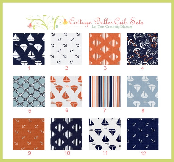 Baby Crib Sheet - Anchors Away -  Toddler Bed Sheet - You Choose the Fabric by Cottage Belles