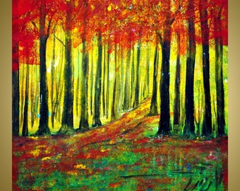 on SALE Original Modern Impressionist Trees Autumn Landscape Forest Palette Knife Oil Painting 20x20 by Luiza Vizoli RED FOREST