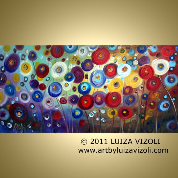 Original Flowers Painting HAPPY POPPIES 48x24 Fantasy Large Oil Artwork by Luiza Vizoli