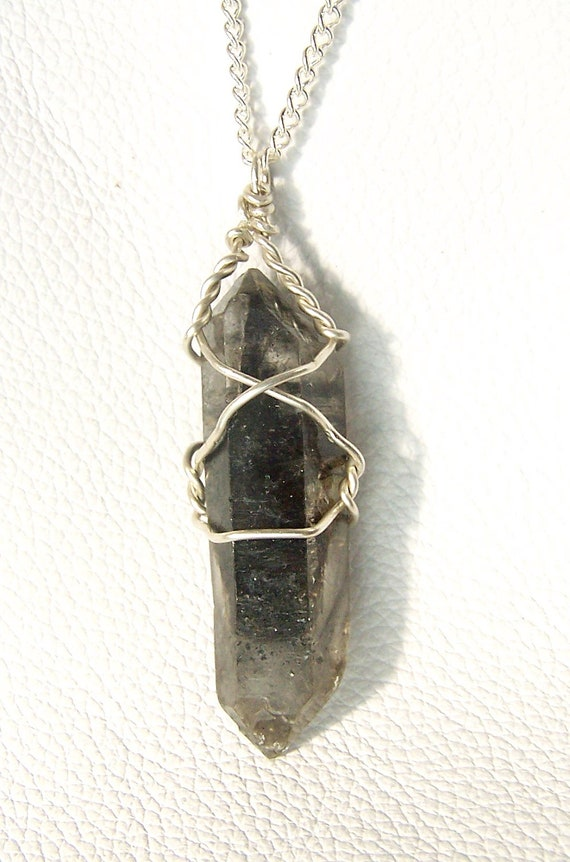 Tibetan Smoky Quartz Crystal wire wrap pendant - Necklace - Sterling Silver wire wrapped - Double Terminated Quartz Crystal point - natural