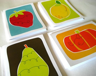Fresh Produce Four Pack - set of four blank cards