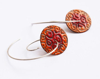 Red and Orange Enamel Copper and Silver Earrings