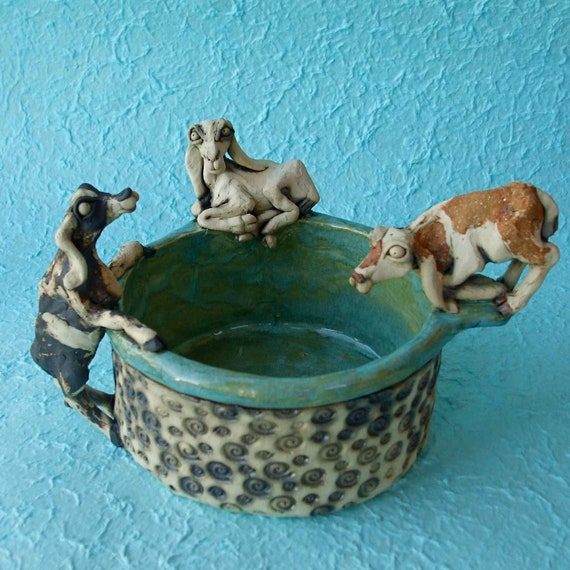 Custom Ceramic Pet Goats Bowl RESERVED for DaniesDelights (BALANCE)