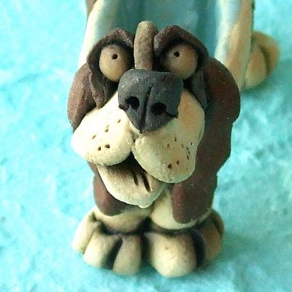 Ceramic Basset Hound Whimsical Dog Ring Holder Sculpture