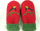 Wool Mittens Sweater Recycled Wool Mittens Red Green Bird and Branch Applique Leather Palm Fleece Lining Eco Friendly  Up Cycled