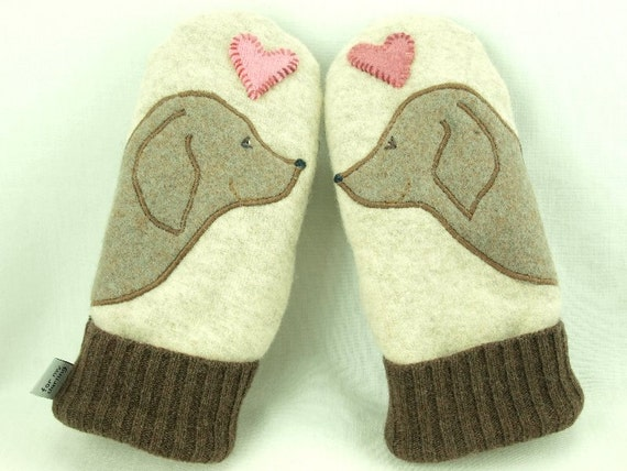 Mittens Felted Wool Golden Retriever Mittens Eco Friendly Mittens Brown, Beige and Pink  Fleece Lining Suede Palm Eco Friendly