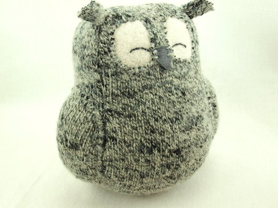 Recycled Sleepy Owl Grey Felted Wool Lamb Wool Stuffing Eco Friendly Home Decor Ornament