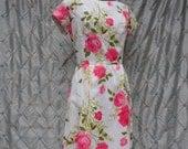 50s 60s Vintage Dress : Vintage 50s 60s Ivory and Pink Roses Crepe Dress Leslie Fay Original Size L