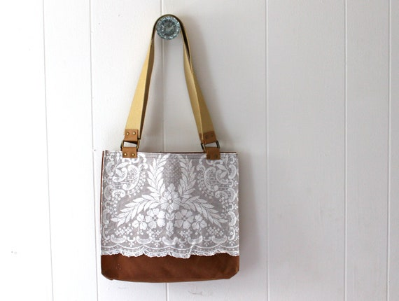 Waxed Canvas Tote Bag with Repurposed Lace - Rusty Brown