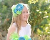 Lime Green and Turquoise Pregnancy Maternity Sash, Flower Girl, Photo Prop, Wall Decoration, Newborn Pictures