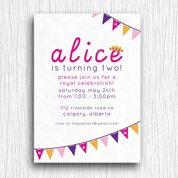 Printable Birthday Party Invitation - Pink and Purple Princess