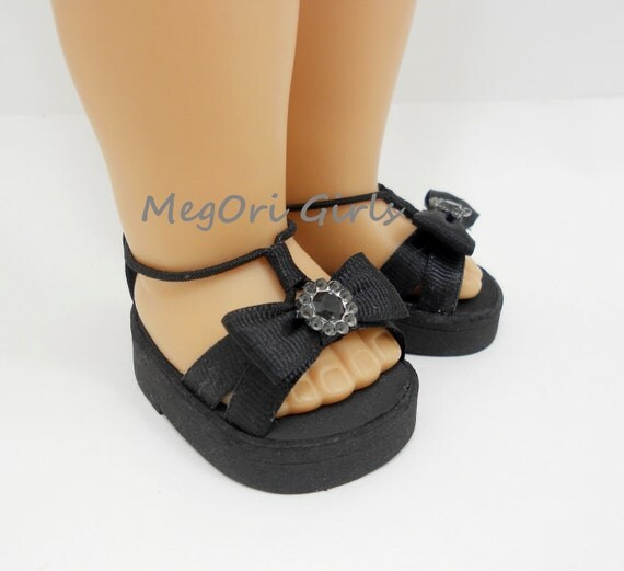 "18"" american girl dolls shoes sandals ""Dalhias"" in black"