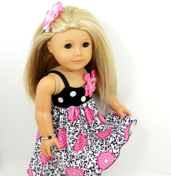 american girl dolls dress and sandals black white crolling prints with pink flowers include bracelet and hair clip.