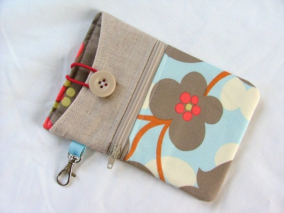 Smart Phone, iPhone4, Droid, iTouch, Gadget Zipper Bag with Key Holder