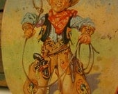 Small Vintage Cowboy Tin From1950's For Thorne's Toffee, England