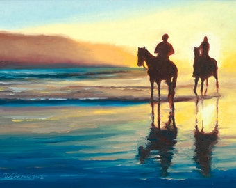 GICLEE Fine Art Reproductions on 8.5x11 PAPER - Riding the Setting Sun by Daina Scarola (Horse Riding, Sunset, Nova Scotia, Beach, Seascape)