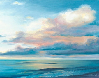 "Giclee Reproduction on 8 1/2""x11"" fine art paper by Daina Scarola, Sunday Morning (seascape, ocean, clouds)"