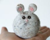 Gray Mouse Toy, Needle Felted Waldorf Toy, Soft Push Stuffed Animal for Children, Wool Cute, Christmas Gift Fairyfolk, grey, Kids