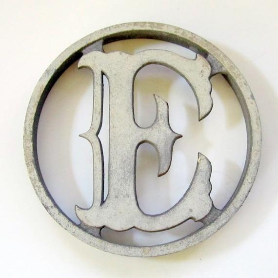 Vintage Aluminum Storm Door Letter Monogram E