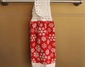 White Snowflakes on Red Towel Crocheted Top Towel-H037