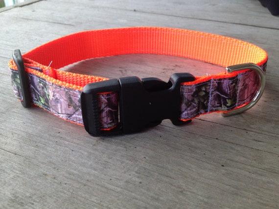 Blaze Orange and Camo Dog Collar, Size Medium