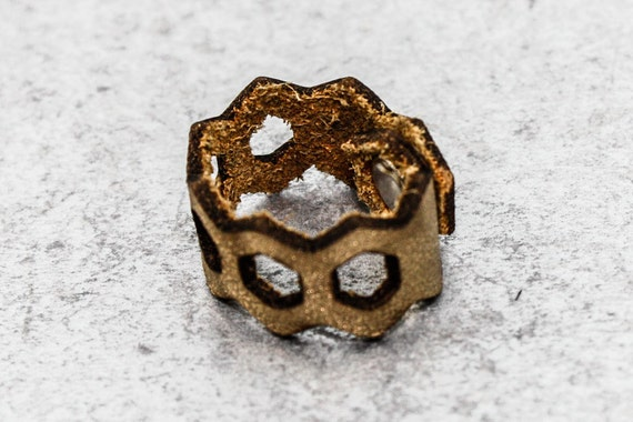Honeycomb Ring - Gold Leather (Size 7)