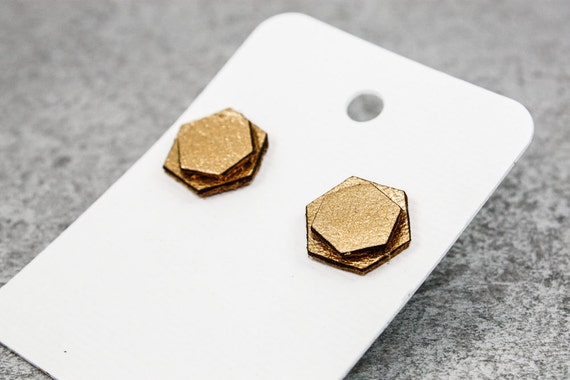 Honeycomb Earrings (Gold Leather)