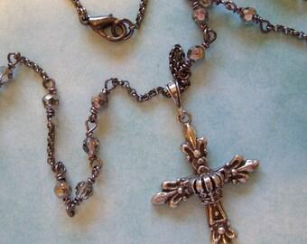 Silver Cross crystals black rhodium chain necklace