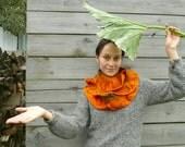 Infinity ruffle scarf wool felted Pumpkin Orange