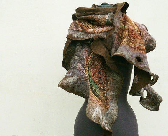 Ruffle nuno felted wrap scarf Brown Peacock by JaneBoFELT
