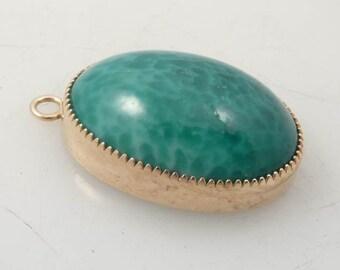 SALE --- Vintage Costume Jade Art Glass Pendant