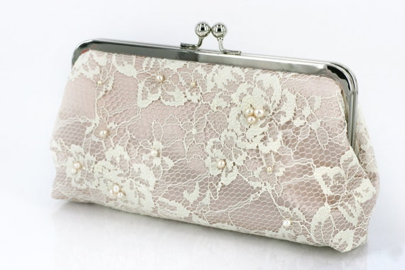 Gift for her, personalized gift, Ivory French Lace Clutch in Satin Champagne beaded with Freshwater Pearls and Pearl Strap 8-inch etsygift