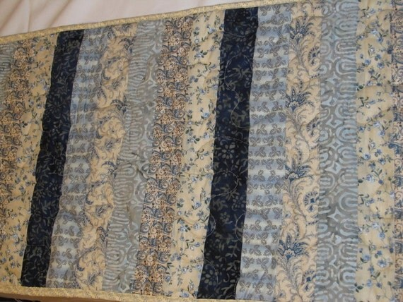 Blue and cream Table Runner:  Insulbrite Quilted Long Trivet for your Table, Ready to ship