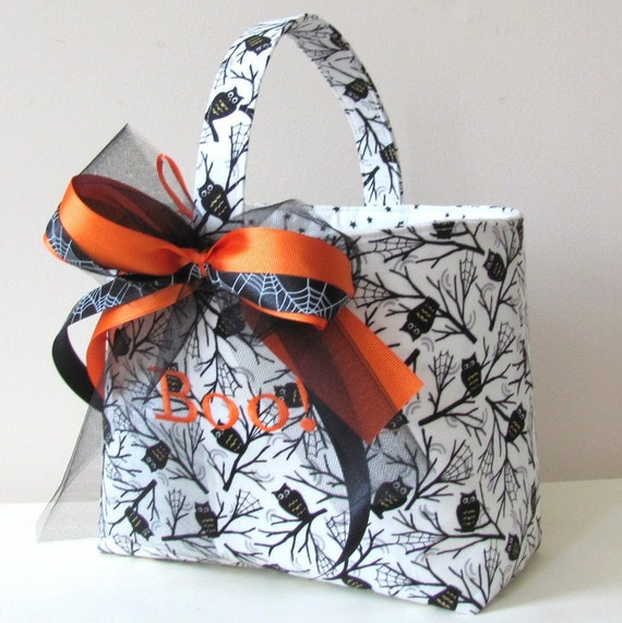 Personalized Halloween Treat Bag Trick or Treat Basket Owls and Spider Webs