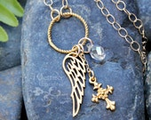 Gold Grace necklace - angel wing, cross, and crystal teardrop - 22k gold plated bronze - birthstone- free shipping USA