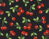 1/2 Yard :  Fruit Basket  BLACK Cherry Kitchen Cotton Quilting Fabric  Robert Kaufman