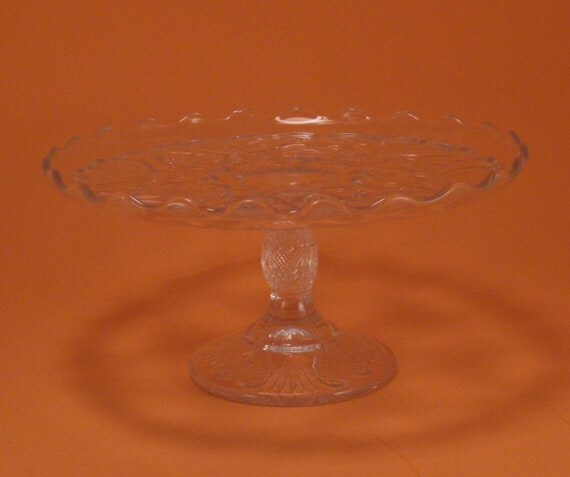 Vintage Pressed Glass Cake Plate Heart Design