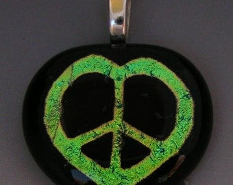 Green Peace Sign Heart Pendant Dichroic Fused Art Glass Jewelry w/ cord