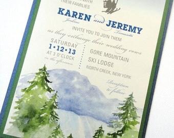 SAMPLE - Ski Lodge Wedding Invitation