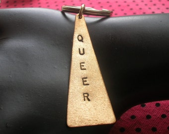 QUEER Keychain--Lesbian, Gay Marriage, Stamped Brass Triangle Keychain, Nyc Pride, LGBT, Gay Pride, Metal Keychain