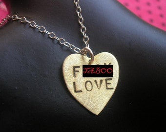 Funny Valentine, Anti Valentines Day Gift, F .ck Love, Brass Heart Charm Necklace, Heart Necklace, Metalwork Stamped Heart, Handmade, Mature